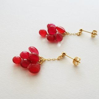 cluster of colours pierced or clip-on earring <raspberry red>