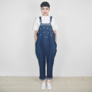 Flower embroidery vintage denim jumpsuit suspenders trousers AY9023