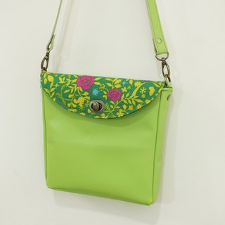 Avatar forest side back small square bag cotton linen + sheepskin green apple green evening bag