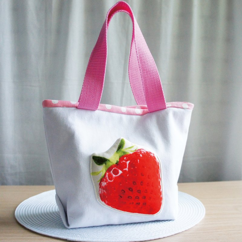Lovely (large strawberry Japanese cloth) big strawberry lunch out bag, lunch bag