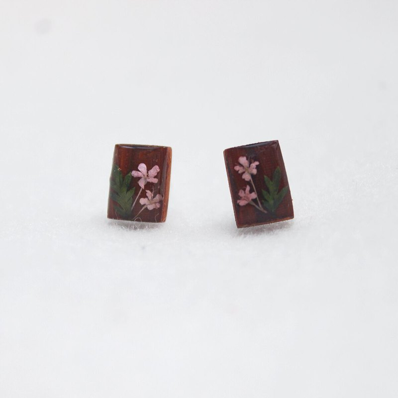 Original design cute flower yellow rosewood pure silver stud earrings