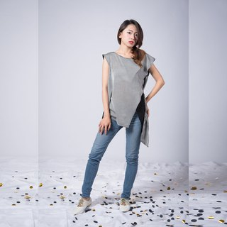 Short-Sleeve Top Blouse Grey Stripe
