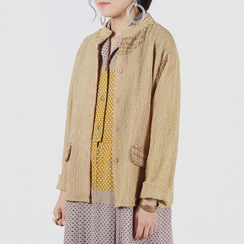 [Egg plant ancient] simple memory stand collar wrinkled vintage blouse