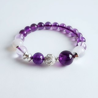 Gemstones ‧ Natural Ore Amethyst Ice Chalcedony 925 sterling silver ‧ Bracelet