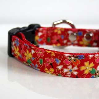 Japanese kimono design Sakura Dog Collar - red -Small