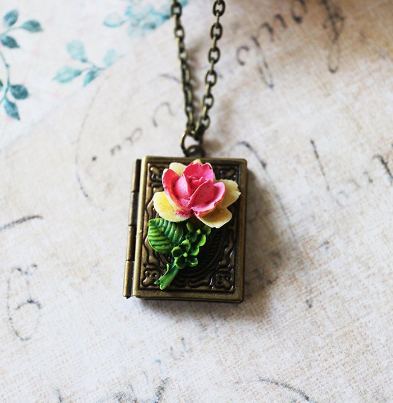 Book Locket Necklace with Pink Rose