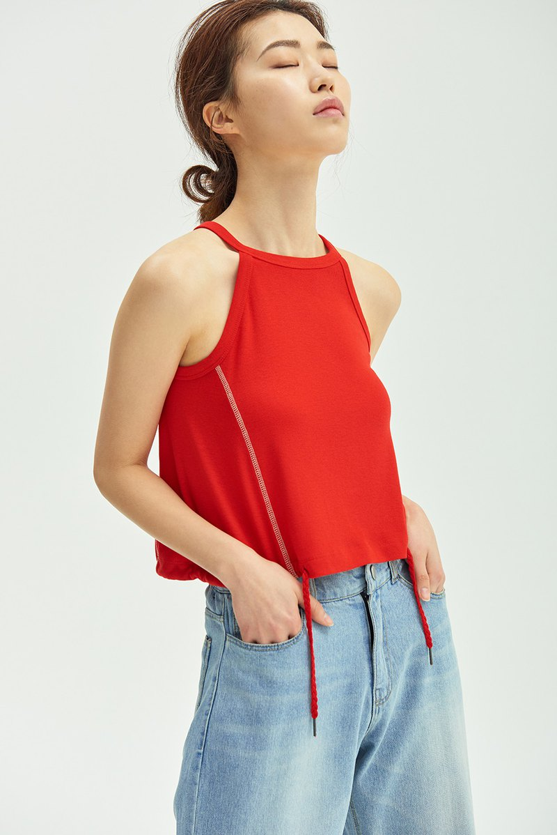 String Tank Top/ Red