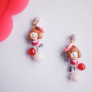Clay hand made flowers, bean color, girl doll earrings, ear clips