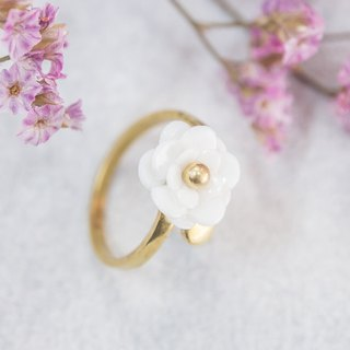Plum ~ white porcelain flower ring ~ size Mini