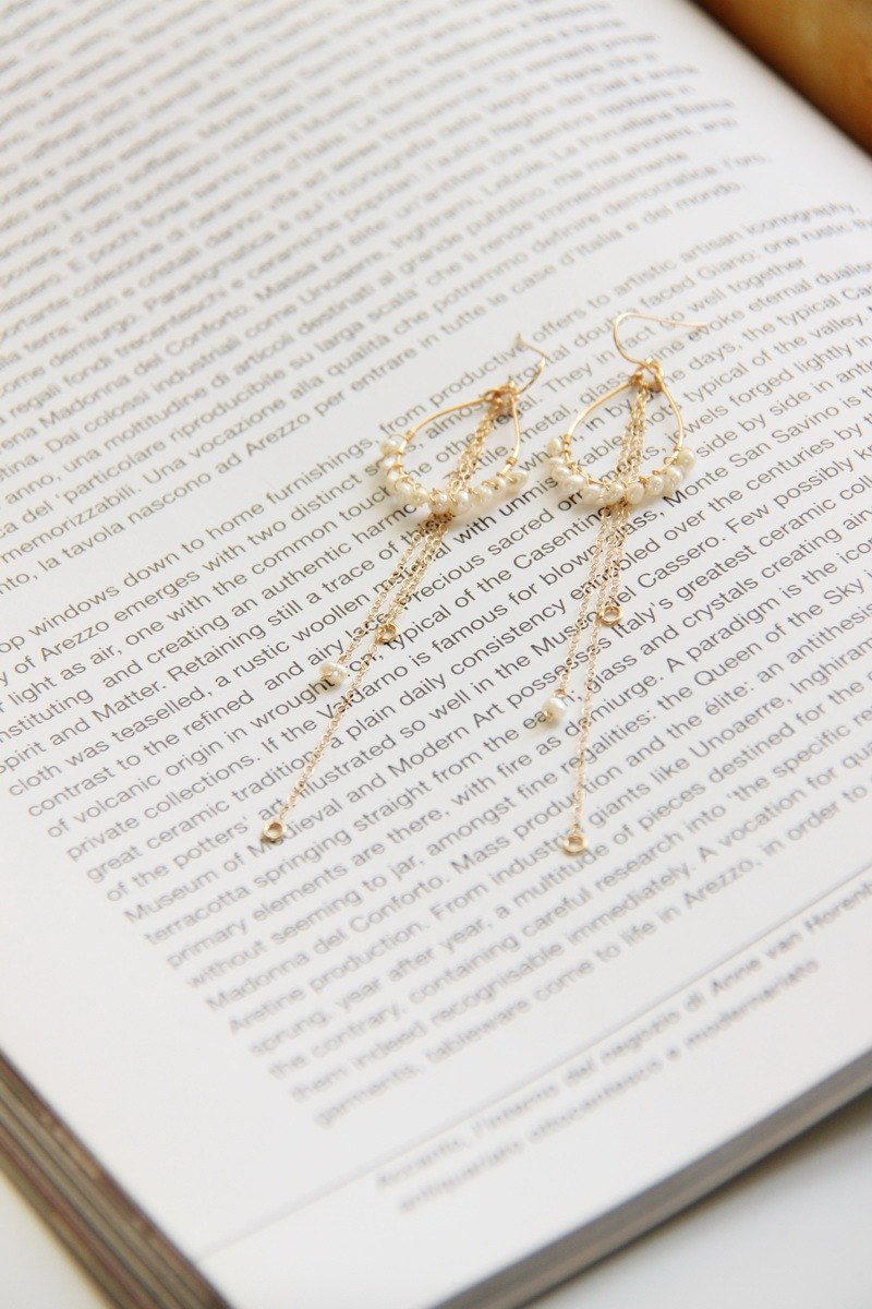 "Jumping ""White"" Natural Freshwater Pearl 14K Gold Earrings pearl 14 KGF earring"