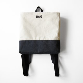 Square gray backpack -BAG (embroidery part can be introduced to introduce changes)
