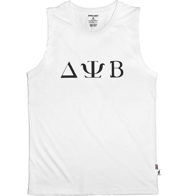 British Fashion Brand -Baker Street- Greek Font Printed Tank Top