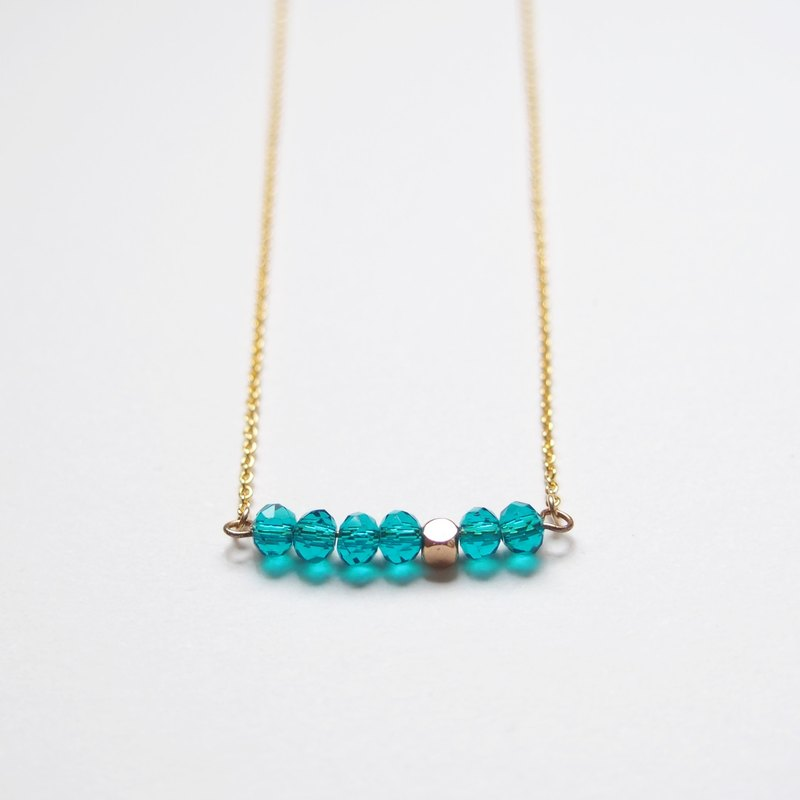 Minimalist temperament · gold-plated square beads · Czech cut face beads · gold-plated necklace (45cm) - sea water blue