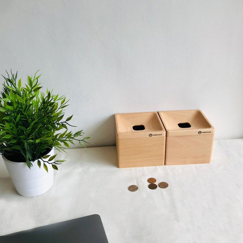 coin box, money bank, storage box, solid wood