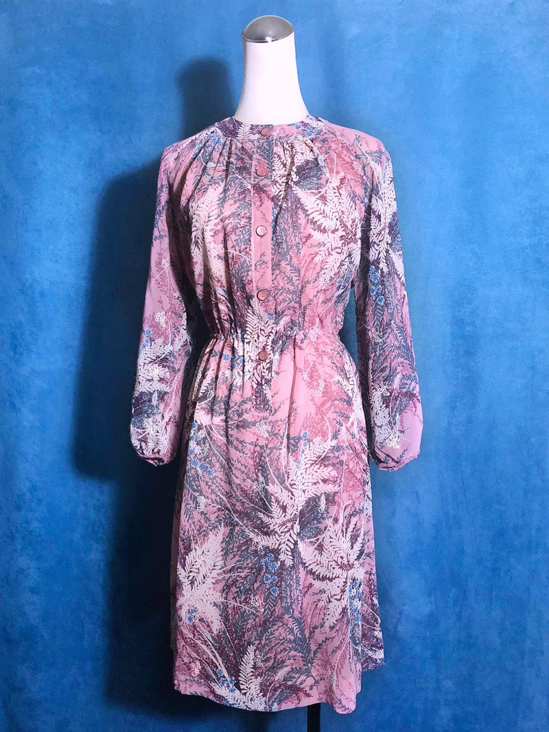 Leaf Shadow Weave Vintage Dress / Bring VINTAGE abroad