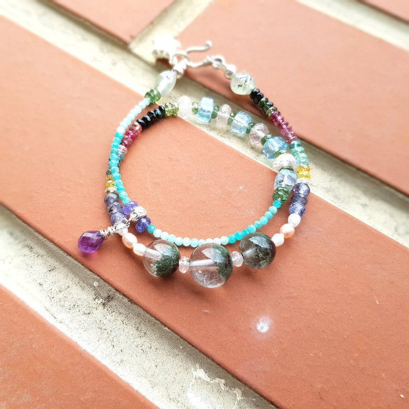 Girl Crystal World [Princess's Sweet Star Lollipop] Green Ghost - Tourmaline Double Chain Bracelet Natural Crystal