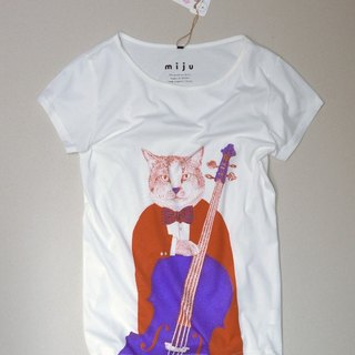 Organic Cotton Cat Cello T-shirt (orange + purple)