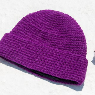 Hand-knitted pure wool cap / knit hat / knitted fur cap / inner brush hair hand-woven wool cap / wool cap - purple