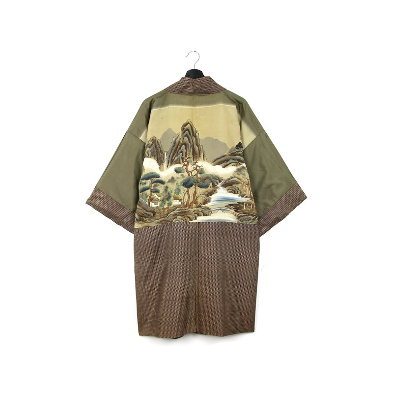 Back to Green-Japan brings back men's feather weaving landscape painting/vintage kimono