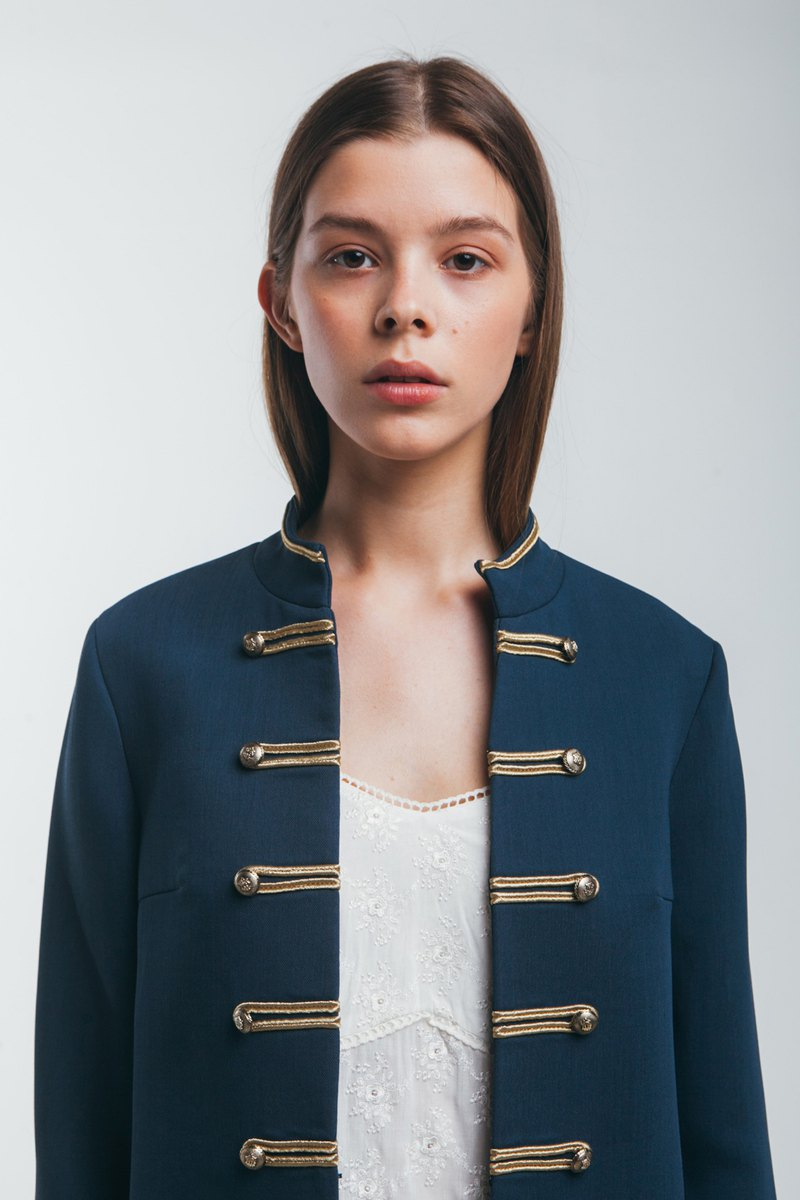 Military style wool blend silk Bonetta jacket in blue