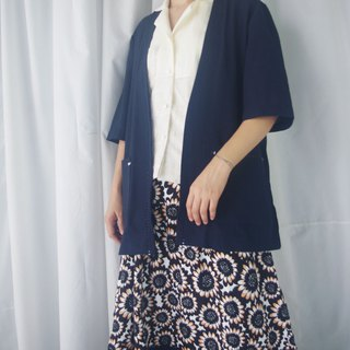 Treasure Hunting - Japanese style collarless dark blue fallen blouse