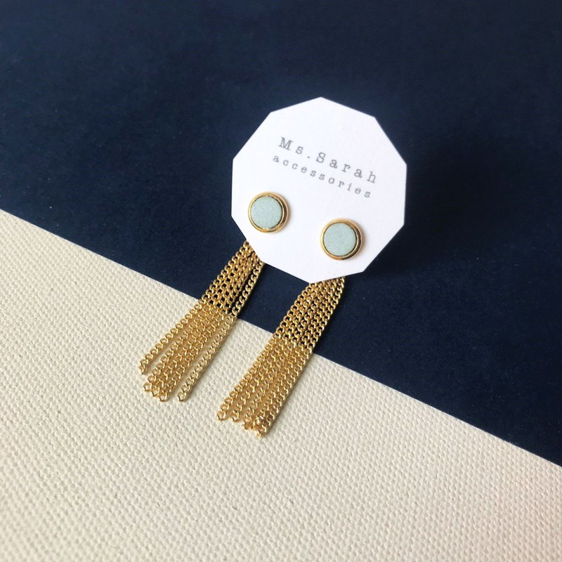 Leather earrings _ ear pin _ round frame No. 4 works #6_ tassels _ mint green