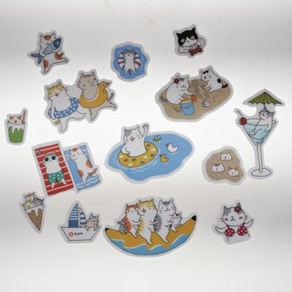"Three cat shop ~ ""sea cat"" waterproof stickers"