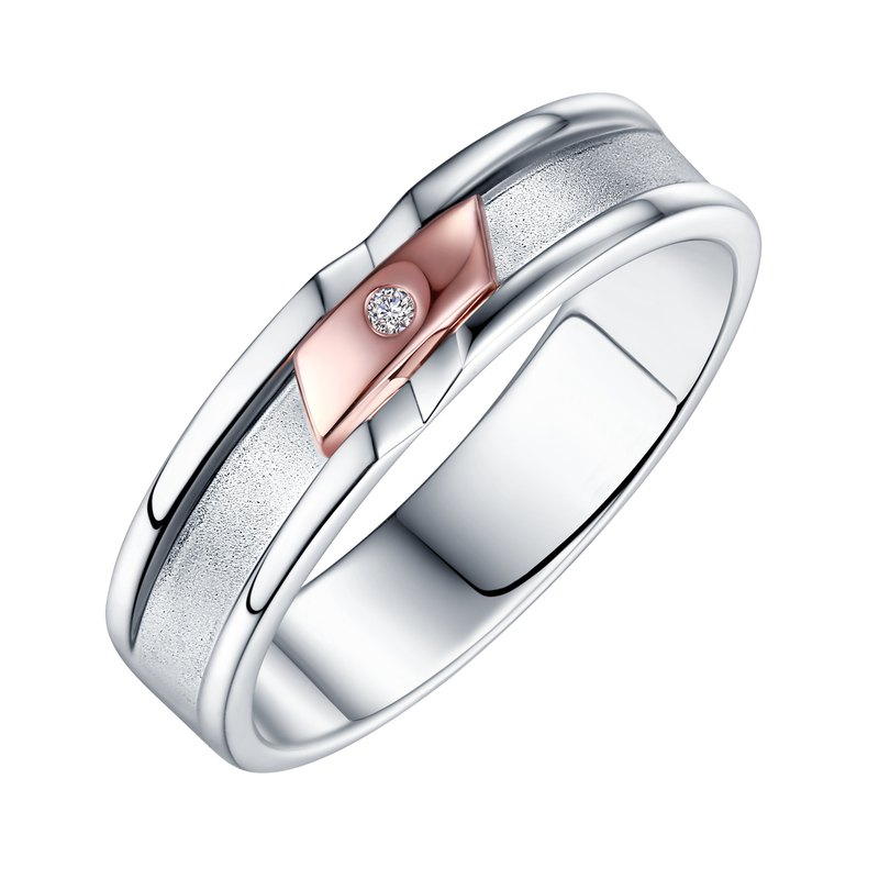 Diamond 14K Rose Gold with 316L Stainless Steel Ring Casting Jewelry for Male