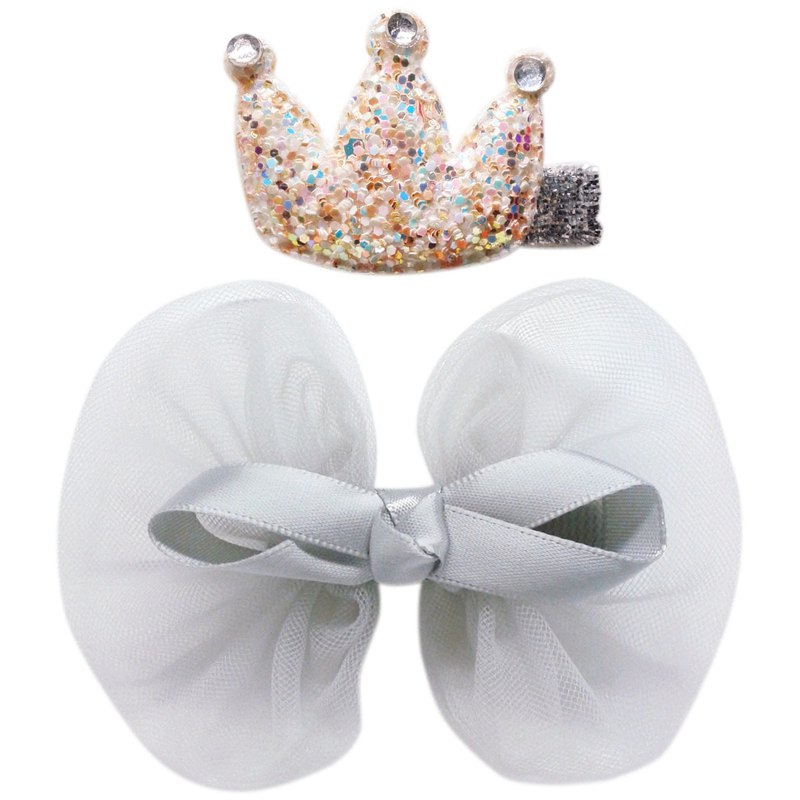 Crown and Chiffon Bow Hair Clips Two-Way All-Inclusive Handmade Hair Accessories Crown & Bow-Gray