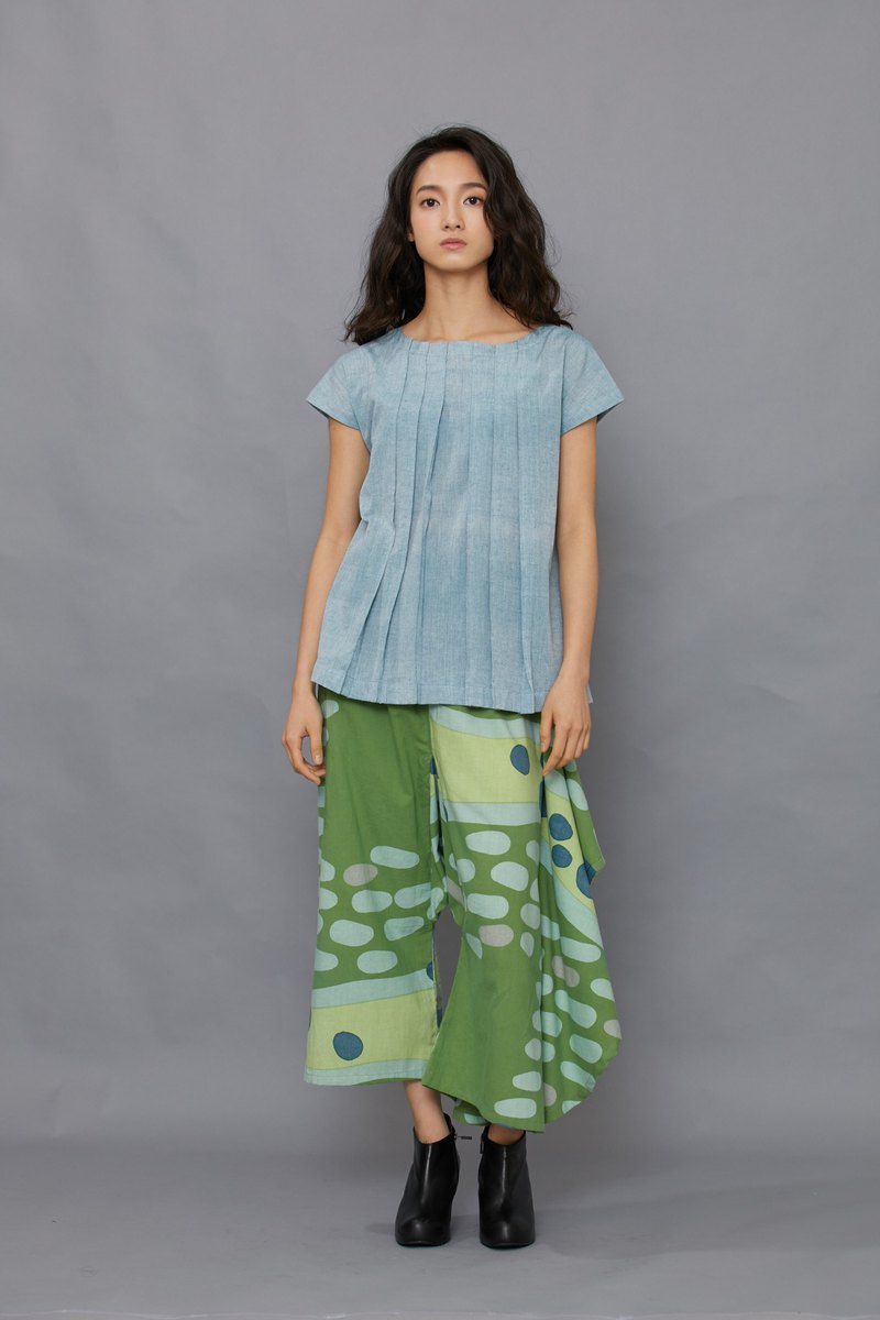 one leg flare pants-Green moss-fair trade