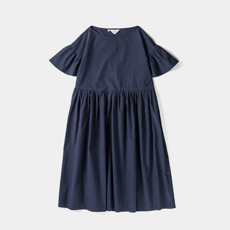 Cotton loose section lotus leaf sleeve one-neck dress No.537