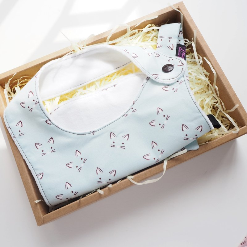 Cat Face Pattern Handmade Bib Box Set - Green