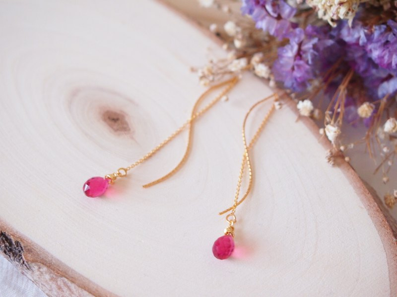 Anniewhere | Little Devil | Red Water Drop 14kgf Earrings Earline