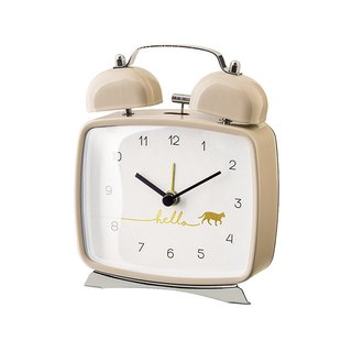 Micino -Bell- Orange Cat Clock (White)