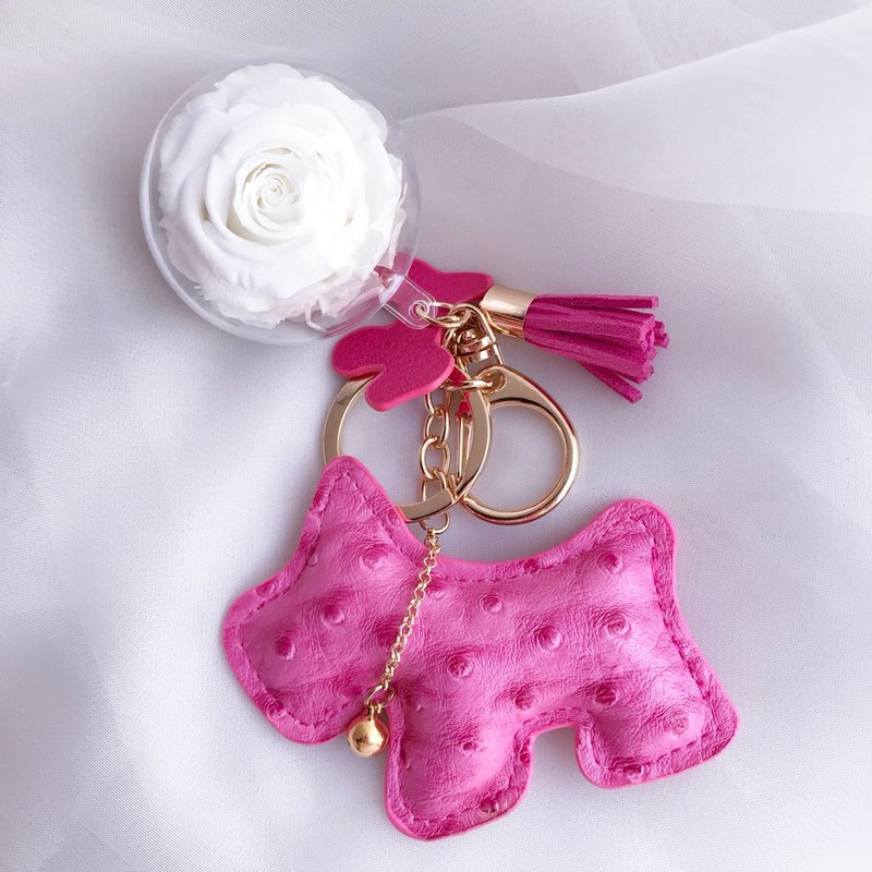 Dog Immortal Flower Charms Deep Pink Keychain Valentine's Day Gifts New Year's gift