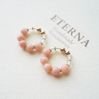 Pink opal and white calcedony, tiny hoop earrings 夾式耳環