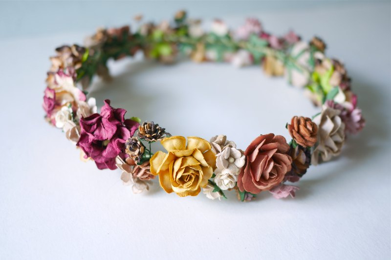 Paper Flower, Crown, Headband, Wedding, Autumn tone: dark brown, brown , red wine, rusty, yellow and ivory Color.