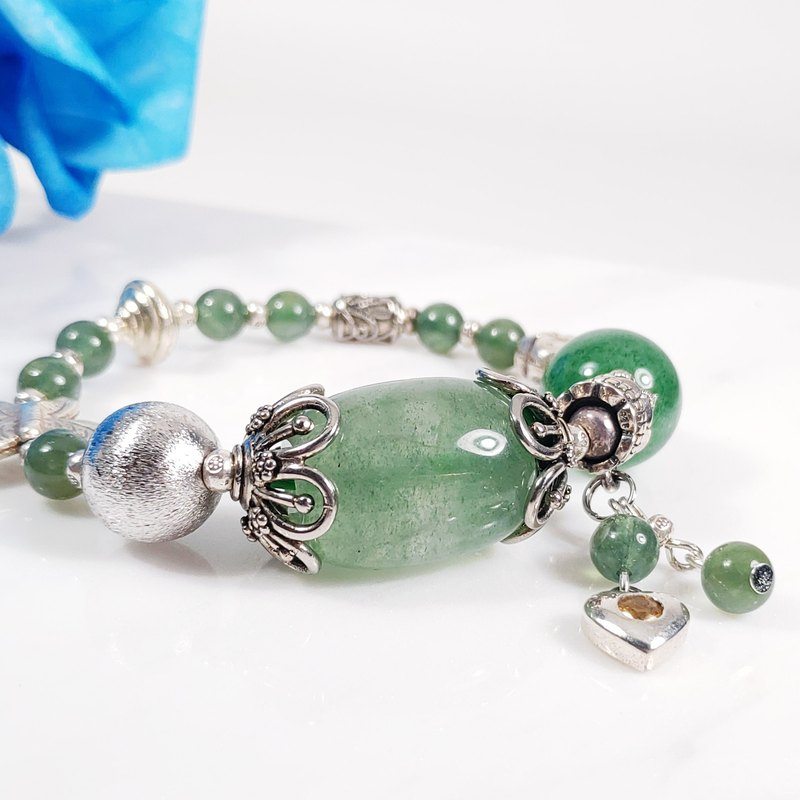 Natural green strawberry crystal east diamond jade opportunity stone design bracelet customized new year lucky energy
