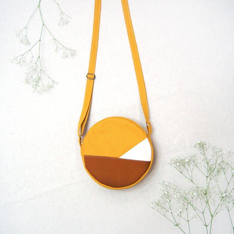 禮物小圓包系列手作拼色圓滿肩背包斜背包-芥末黃