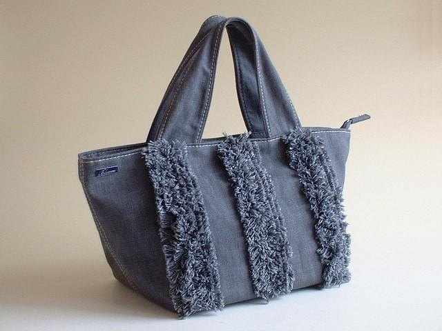Okayama denim fringe decoration tote bag gray