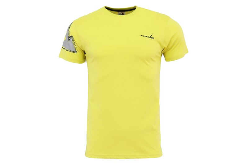 tools Slim round neck short-sleeved shirt yellow skin-friendly comfortable cotton 160501-07