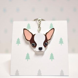 Chihuahua (Coffee) - Key Chain - Pet Accessories - Pet Hanger - Hairy Kids - Gifts - Custom - Acrylic - BU
