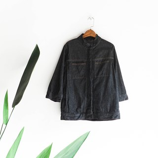River Water - Kanagawa pure black collar stand-up work feel antique cotton tannin shirt shirt jacket oversize vintage
