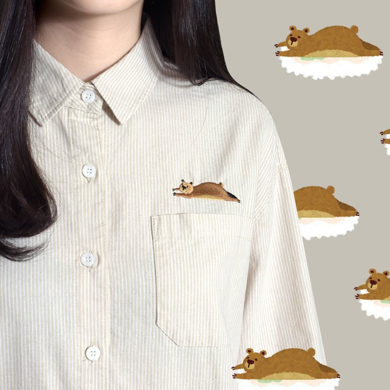 【Limited time free shipping】 Lazy bear Xiong - embroidered pocket scholar shirt