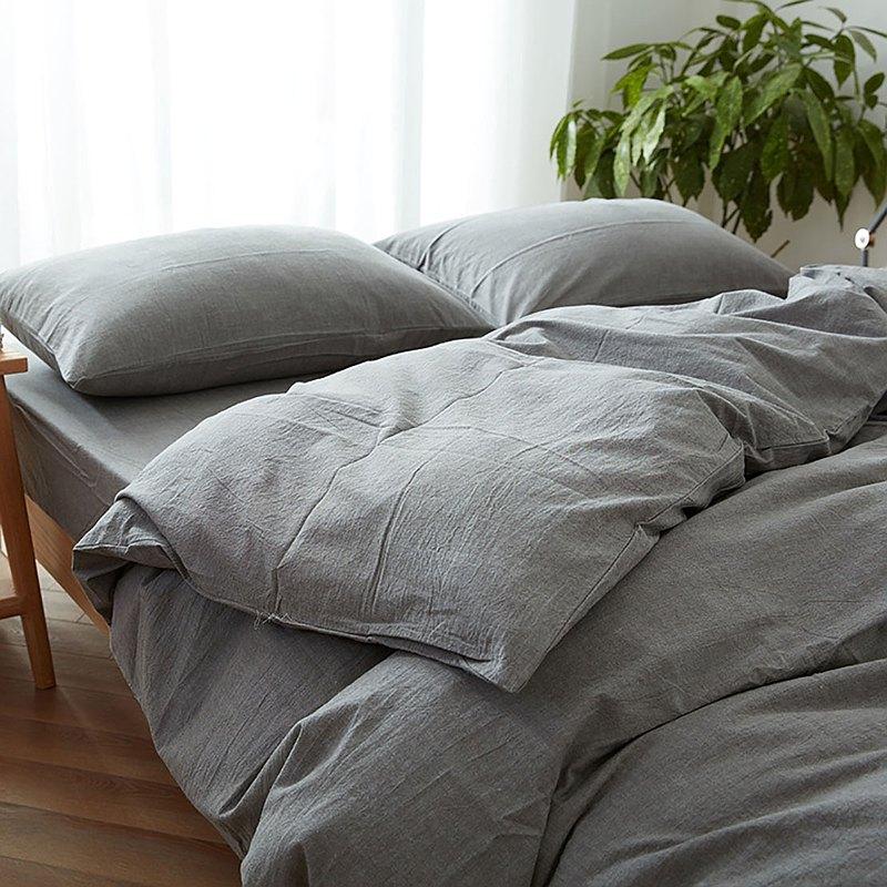冷灰 水洗棉 標準雙人四件組床包(台灣尺寸)