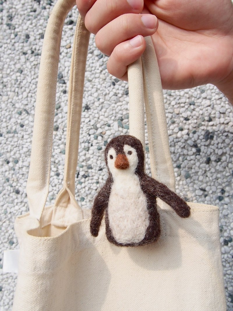 Love Earth Series - Penguin wool felt pins (brown section)