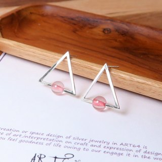 Powder Crystal Triangle Ear Studs - 925 Sterling Silver Natural Stone Earrings