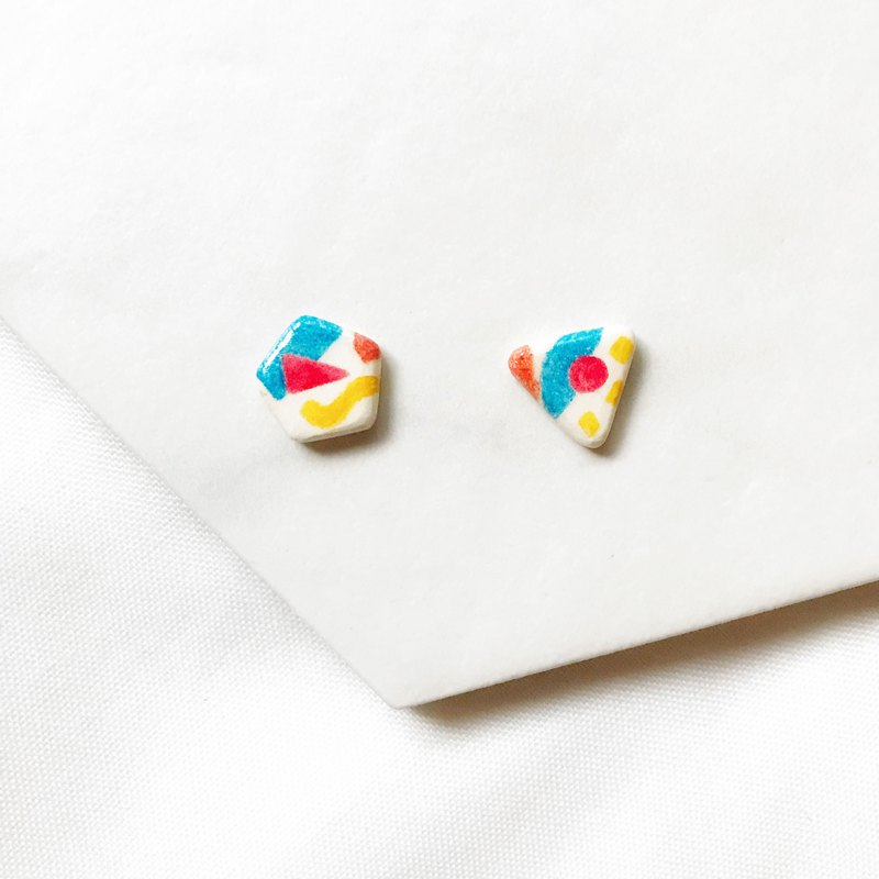 Different dimension - ear / hand made / hand-painted earrings