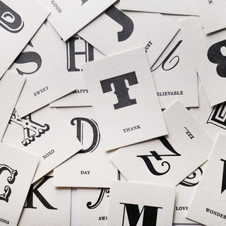 Typography. English alphabet small card