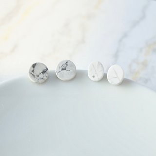 ITS-260 【Earrings Series】 Minimalist natural stone marbled round oval earrings earrings only